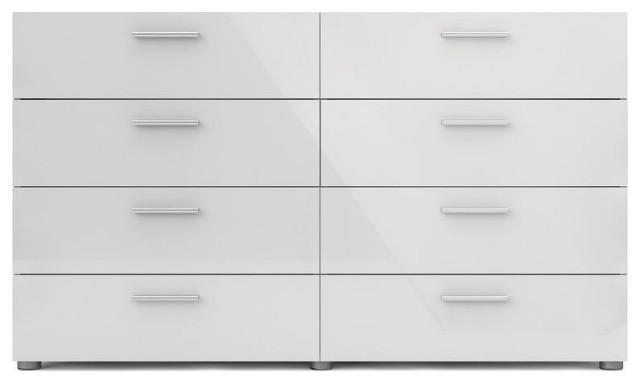8 Drawer Double Dresser, Oak