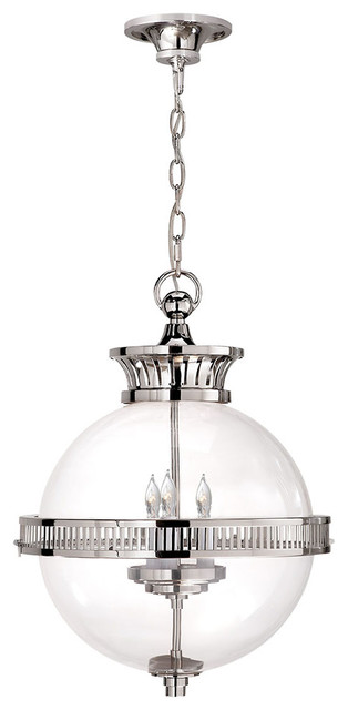 E. F. Chapman Alderly Globe Pendant, Polished Nickel.