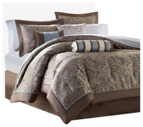 jacquard duvet 6piece set with piping queen