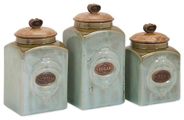 Classic Style Multi Set Of 3 Addison Ceramic Canisters Home Decor Farmhouse Decorative Jars