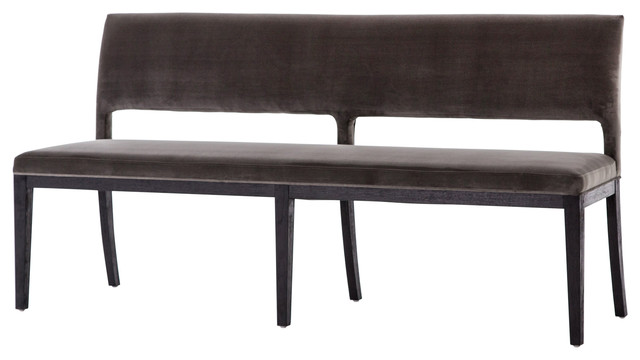 Kara Dining Bench, Washed Velvet Gray, Drifted Black.