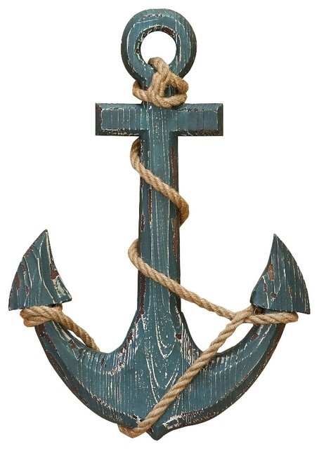 Wood Anchor With Rope Nautical Decor.