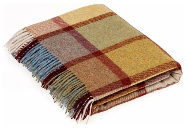 Country Check, Merino Lambswool, Pateley Ochre, Throw Blanket.
