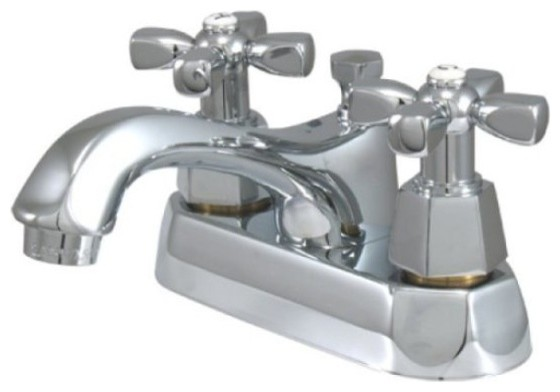 Two Handle 4 Centerset Lavatory Faucet with Brass Pop-up KS4261HX by Kingston Brass