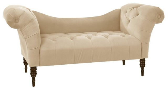 Skyline furniture tufted chaise velvet pewter indoor for Button tufted chaise settee velvet