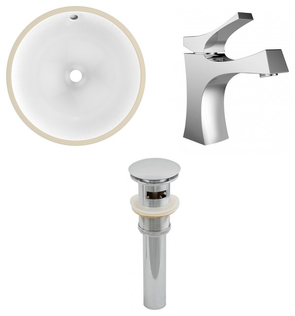 "Round Undermount Sink, White, Single Hole Cupc Faucet, Drain, 15.25""x15.25""."