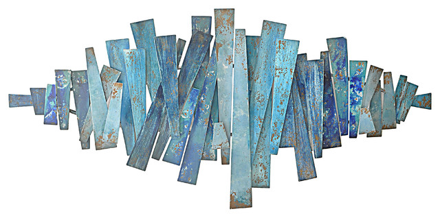Ocean S Away Abstract Strips Metal Wall Decor Blue