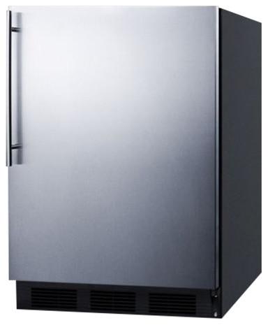 Built-In Undercounter Refrigerator Freezer, Black.