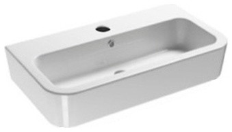 Ceramic Wall Mounted Or Vessel Bathroom Sink, One Faucet Hole.