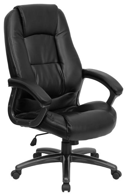 Portland Leather High-Back Swivel Chair, Black.