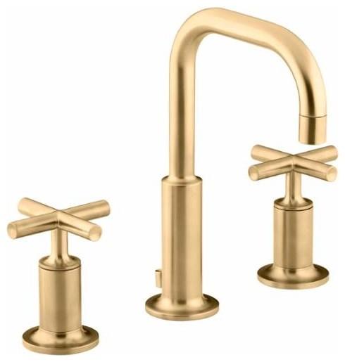 Kohler k 14406 3 purist widespread bathroom faucet industrial bathroom sink faucets by for Industrial bathroom sink faucet