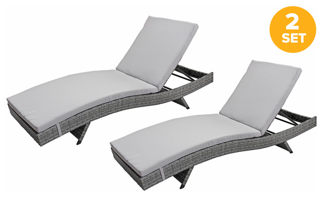All-Weather Rattan Wicker Outdoor Patio Chaise Lounge Chairs, Set Of 2, Gray.