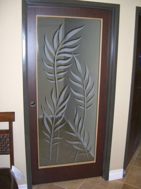 Interior Glass Doors With Obscure Frosted Glass Designs  Ferns 2D Tropical Part 83