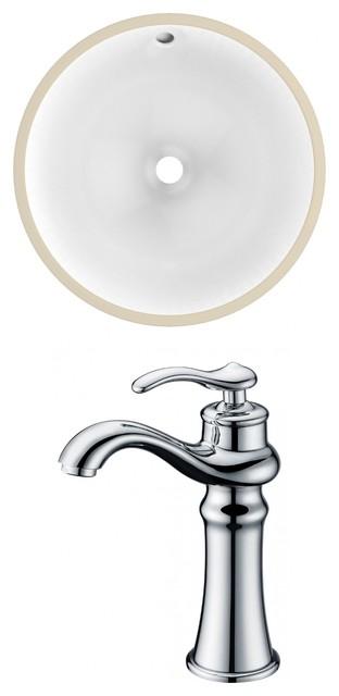Round Undermount Sink Set, Chrome Hardware With Deck Mount Cupc Faucet, 15.25.