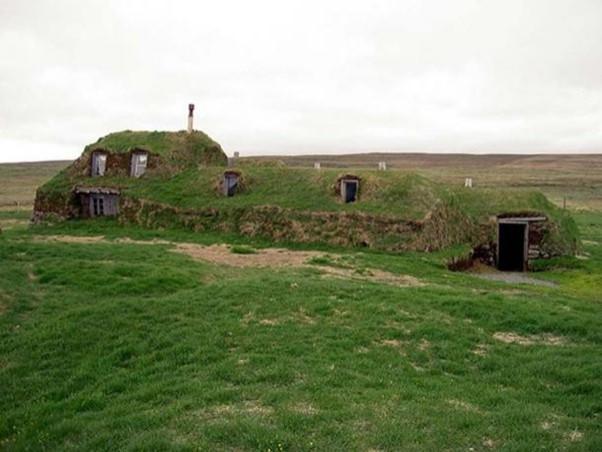 Historic traditional Icelandic turf house