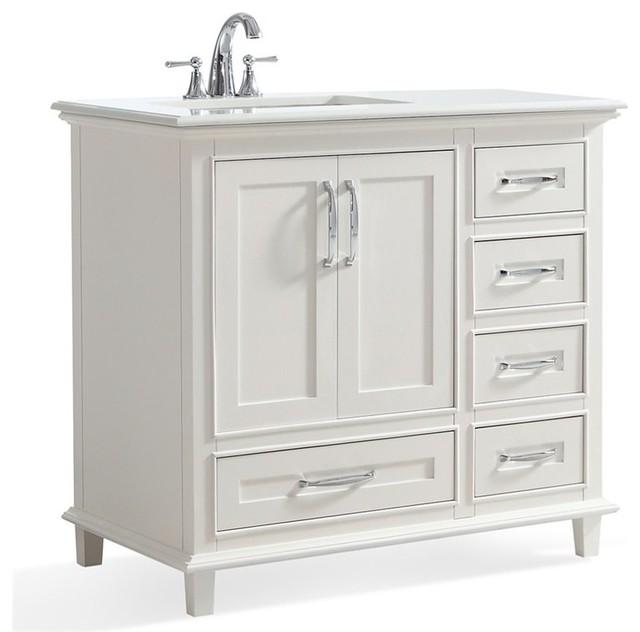 Simpli Home Ariana 36 White Quartz Marble Top Bathroom Vanity Vanity Tops And Side Splashes