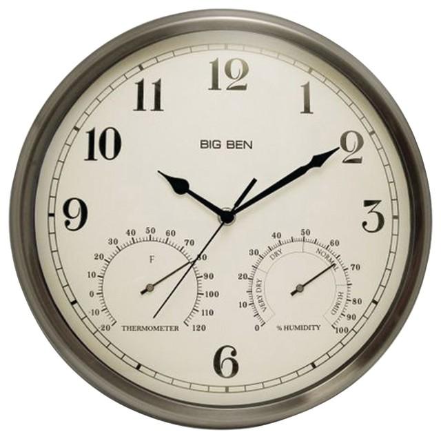 Westclox Indoor/Outdoor Clock With Temperature and Humidity Gauges ...
