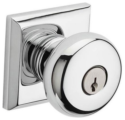Round Polished Chrome Entry Knob With Traditional Square Rose - Contemporary - Cabinet And ...
