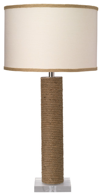 Cylinder Table Lamp, Jute With Medium Drum Shade, White Linen Contemporary  Table