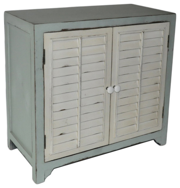 Coastal Shutter Door Cabinet Beach Style Accent Chests