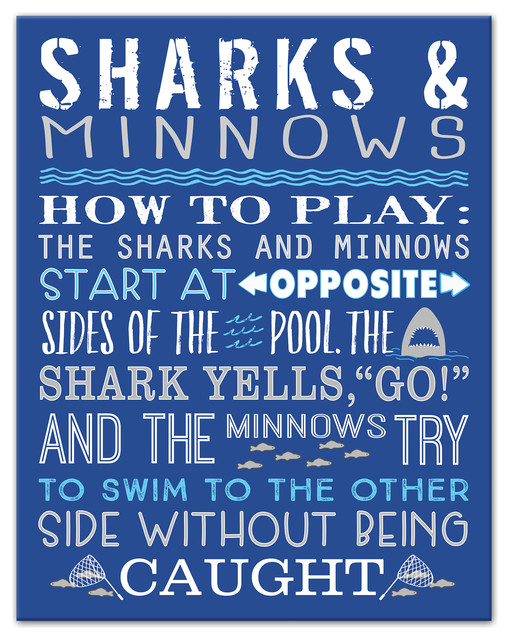 Sharks & Minnows Swimming Pool 11x14 Canvas Wall Art