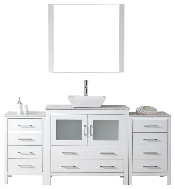 "Virtu Usa Dior 66"" Single Bathroom Vanity With Square Sink, White, White Marble."