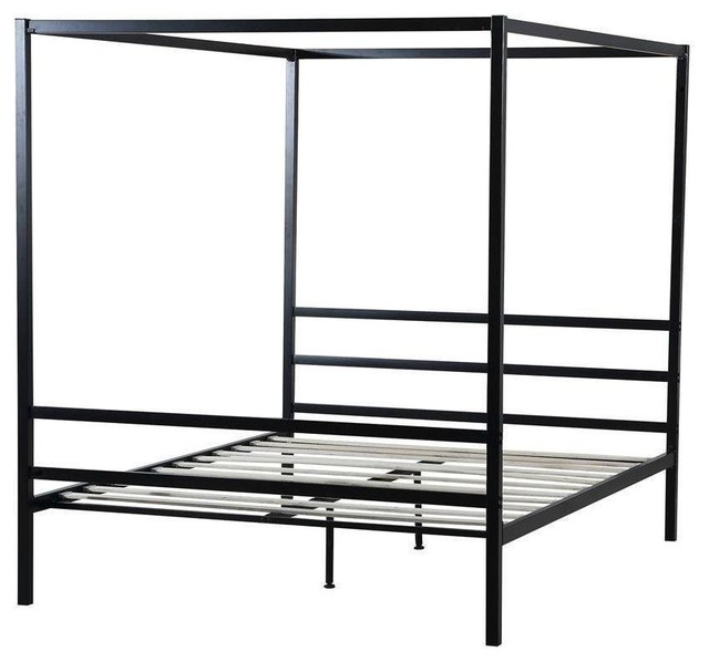 Queen Size Heavy Duty Black Metal Canopy Bed Frame With Wood Slats Contemporary Beds By Hilton Furnitures