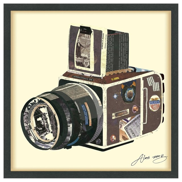 """""""SLR Camera"""" Hand Made Dimensional Collage Framed Wall Art Under Glass"""