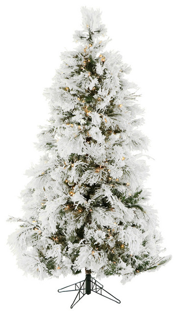 12-Ft. Flocked Snowy Pine Christmas Tree with Clear LED String Lighting