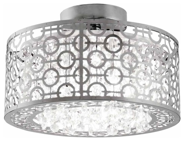 Dvi Lighting Dvp5833ch-Cry Semi Flush Mount With Crystal Droplets Shades, Chrome.