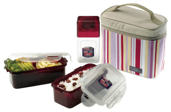 Lock&lock Lunch Box Set With Pink Lunch Bag.