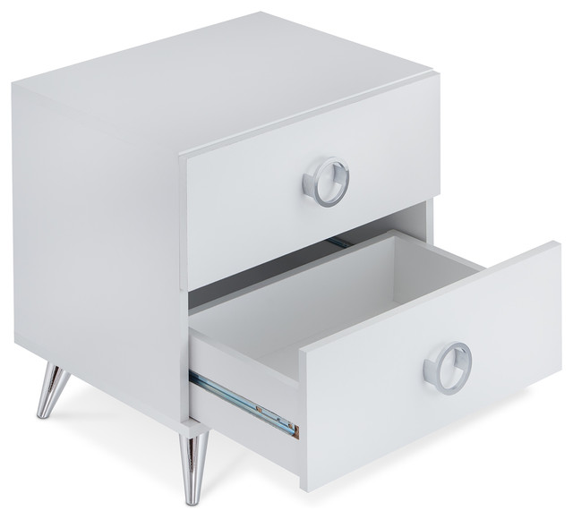 brand new 1cd58 73c46 2 Drawers Night Stand With Tapered Chrome Leg, White