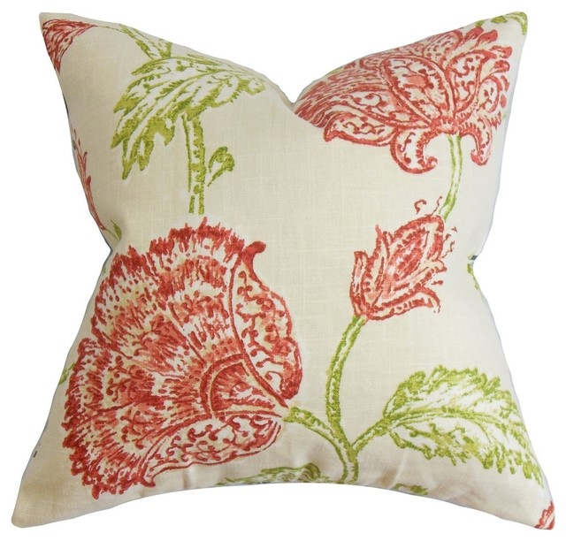 Behati Floral Pillow Natural Pink - Transitional - Decorative Pillows - by The Pillow Collection