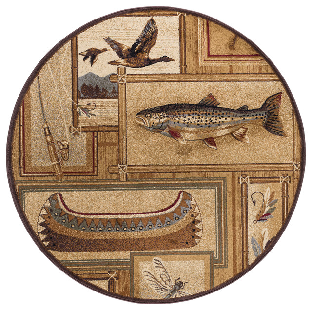 Trout Fishing Novelty Pattern Lodge Area Rug Rustic