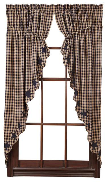 Star Navy Scalloped Prairie Curtain, Set Of 2.