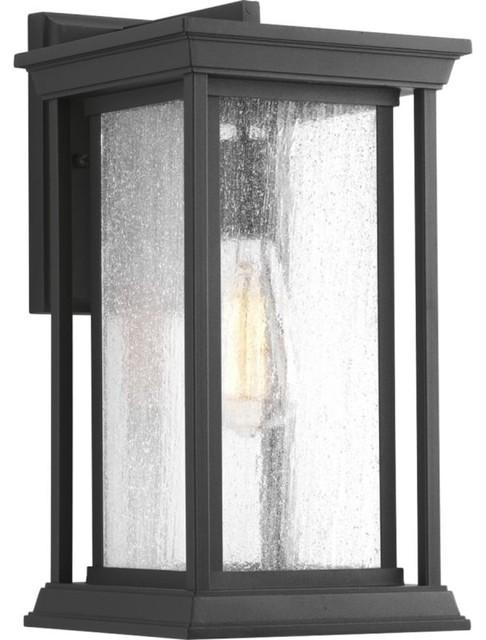 Endicott 1-Light Outdoor Medium Wall Lanter Black Clear Seeded Glass.