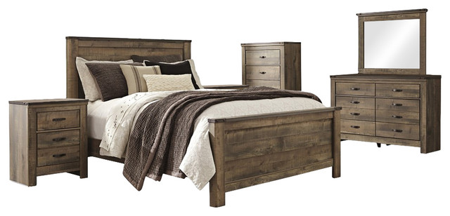 Ashley Trinell 6 Piece Bedroom Set Queen Panel Bed Brown