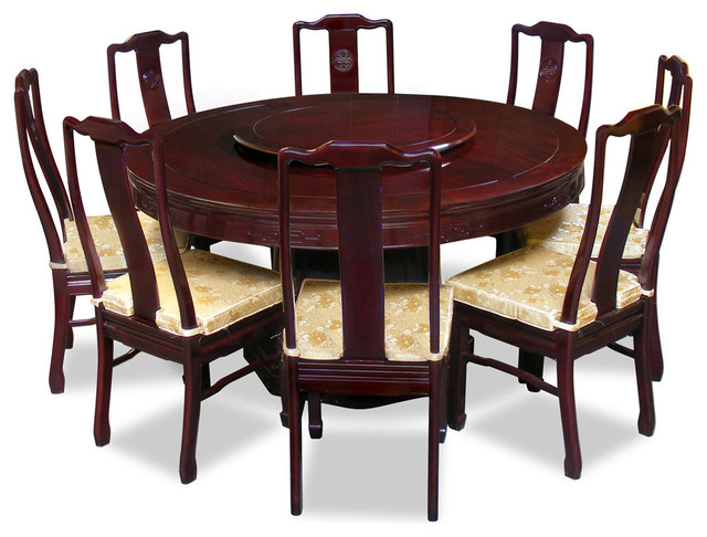 60  Rosewood Longevity Design Round Dining Table With 8 Chairs  sc 1 st  Houzz & 60