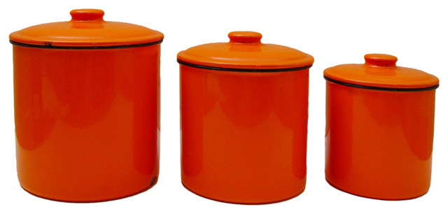 orange kitchen canisters consigned flame orange enamelware canister 3 piece set view in your room houzz 6153