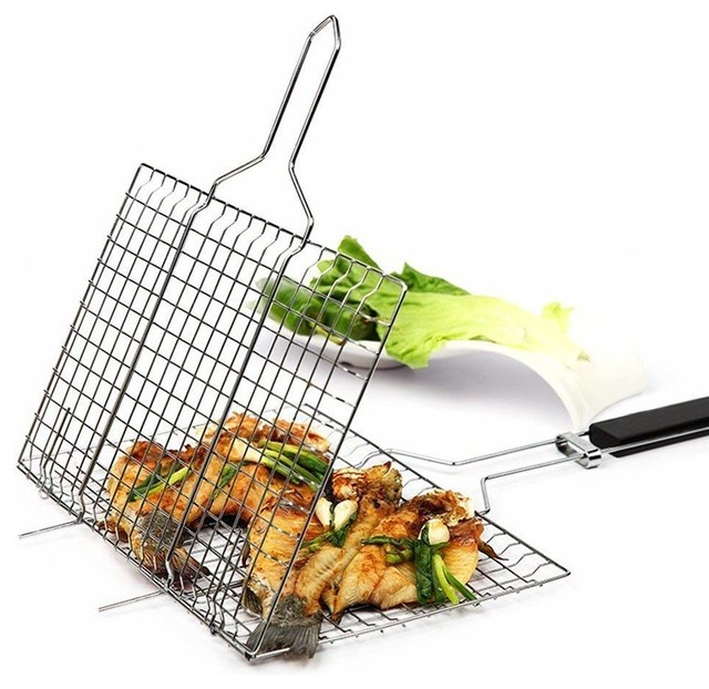 Portable Stainless Steel Barbecue Grill Basket With Wooden Handle