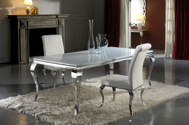Modern louis inspired white glass dining table and chair set modern dining tables london - Modern glass dining room tables ...