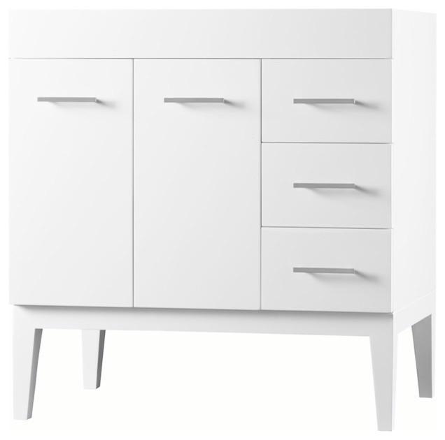 """Ronbow 36"""" Venus Solid Wood Vanity Base Cabinet, White, Doors On Left."""