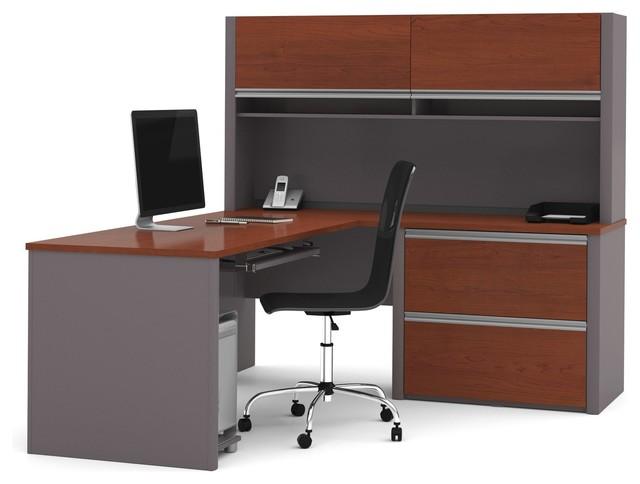 Connexion Two Tone L Shaped Desk, Hutch, Oversized Pedestal