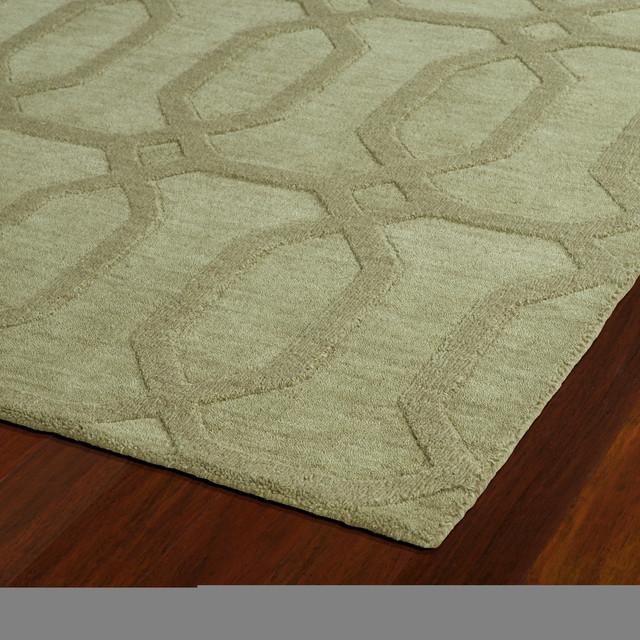 Kaleen Hand Tufted Imprints Modern Wool Rug, Sage, 2&x27;x3&x27;.