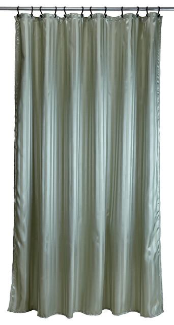 Shower Curtain Tuxedo Stripe Sage Green Traditional