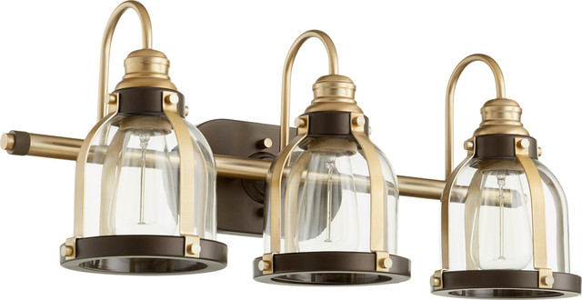 Quorum Lighting 586-3-8086 Vanity Light, Aged Brass With Oiled Bronze