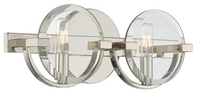 Savoy House Malvern 2 Light Bath Bar, Polished Nickel  Contemporary Bathroom Vanity