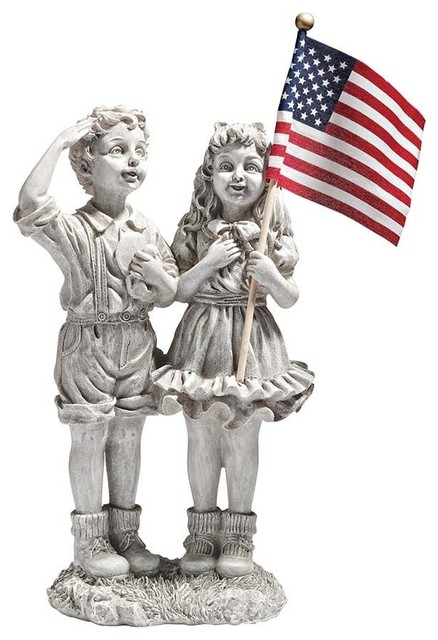 Awesome Patriotic Flag Children Statue Contemporary Garden Statues And Yard Art