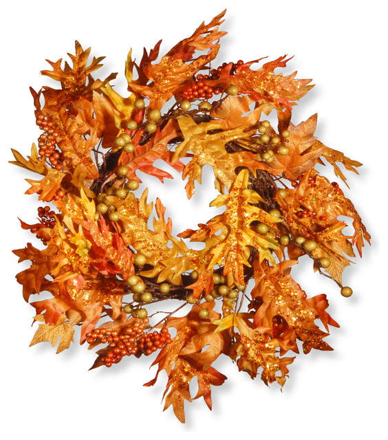 """Maple Leaf And Berry Wreath, 24""""."""