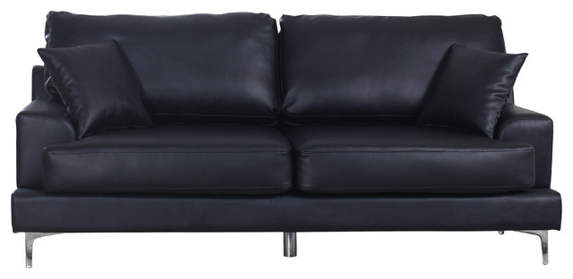 Ultra Plush Bonded Leather Living Room Sofa With Chrome Legs, Black